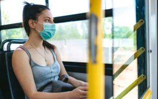 corona virus girl on bus